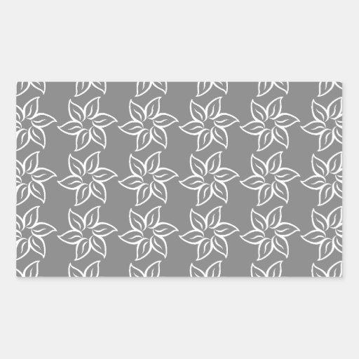 Estampado de plores rizado - blanco en gris pegatina rectangular