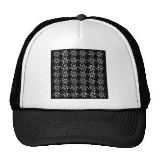 Estampado de plores rizado - blanco en negro gorra