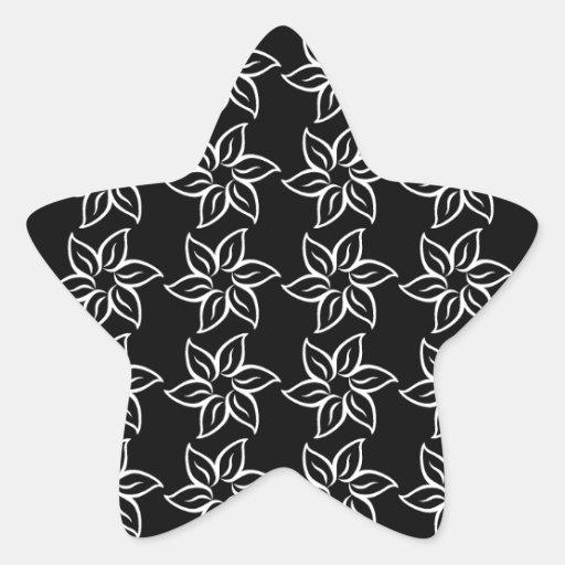 Estampado de plores rizado - blanco en negro pegatina forma de estrella personalizadas