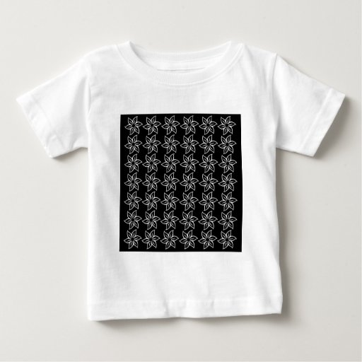 Estampado de plores rizado - blanco en negro camisetas