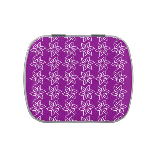 Estampado de plores rizado - blanco en púrpura jarrones de caramelos