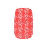 Estampado de plores rizado - blanco en rojo stickers para manicura