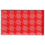 Estampado de plores rizado - blanco en rojo soporte de tarjeta de mesa