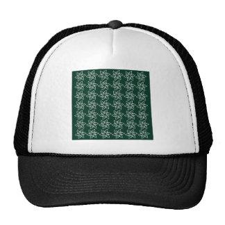 Estampado de plores rizado - blanco en verde oscur gorras