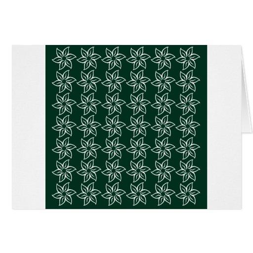 Estampado de plores rizado - blanco en verde oscur tarjeta de felicitación