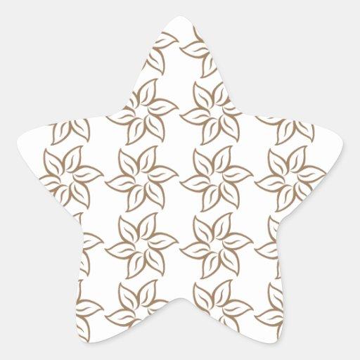 Estampado de plores rizado - Brown pálido en Pegatina En Forma De Estrella