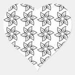 Estampado de plores rizado - negro en blanco pegatina en forma de corazón