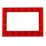 Estampado de plores rizado - negro en rojo marcos magnéticos para fotos
