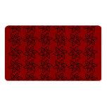 Estampado de plores rizado - negro en rojo oscuro plantillas de tarjetas personales