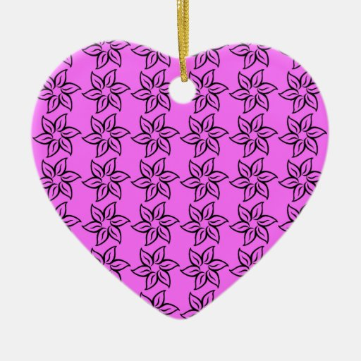 Estampado de plores rizado - negro en ultra rosado adorno de cerámica en forma de corazón