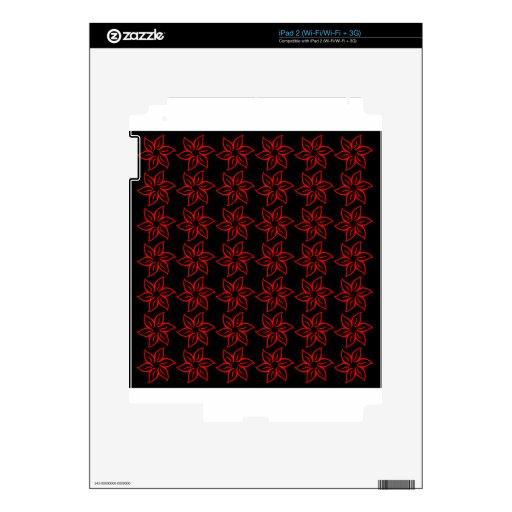 Estampado de plores rizado - rojo en negro iPad 2 calcomanía