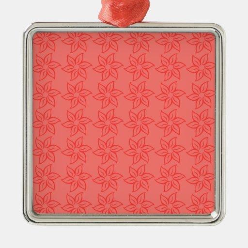 Estampado de plores rizado - rojo en rojo claro adorno cuadrado plateado