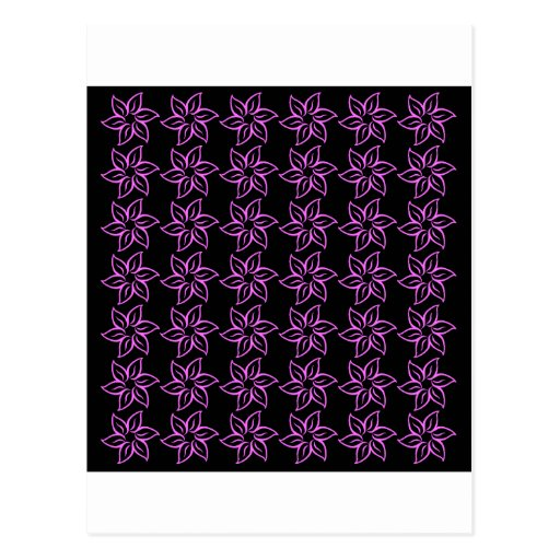 Estampado de plores rizado - ultra rosa en negro tarjeta postal