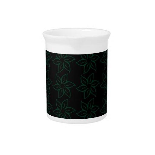 Estampado de plores rizado - verde oscuro en negro jarrón