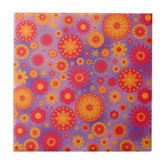 Estampado de plores rojo del hippy del naranja y azulejo cuadrado pequeño