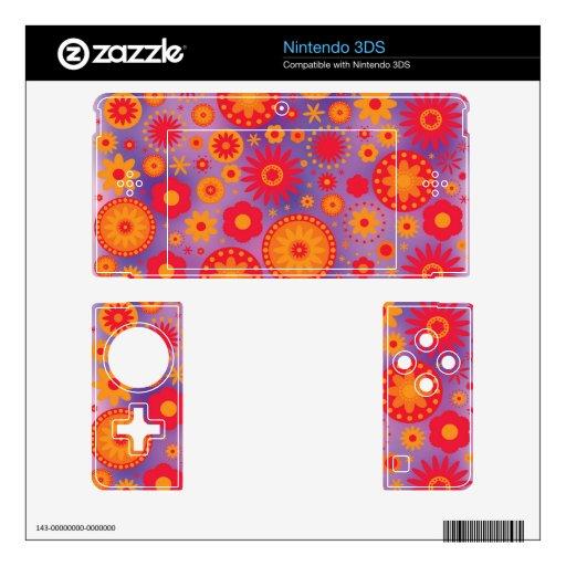 Estampado de plores rojo del hippy del naranja y d skin para el nintendo 3DS