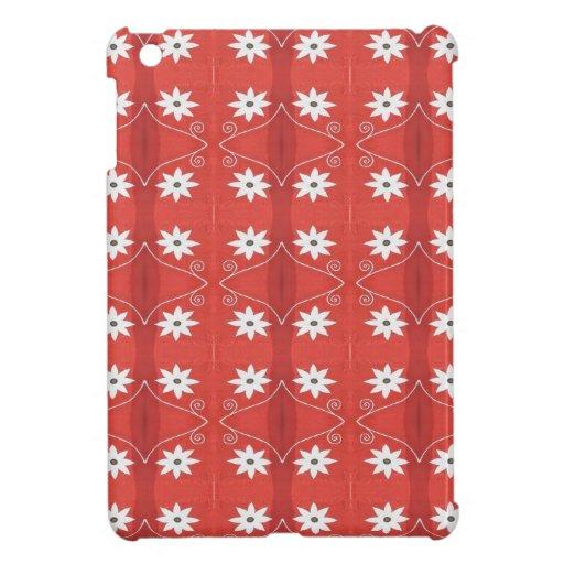 estampado de plores rojo y blanco iPad mini protectores