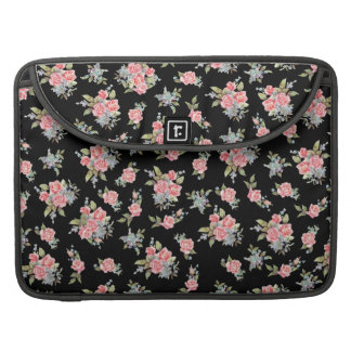 Estampado de plores rosado bonito en negro fundas macbook pro