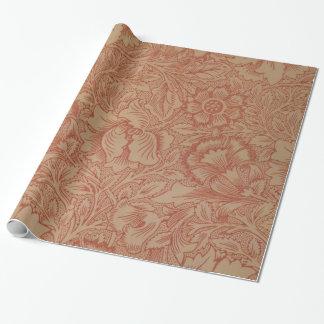 Estampado de plores rosado de la amapola de papel de regalo