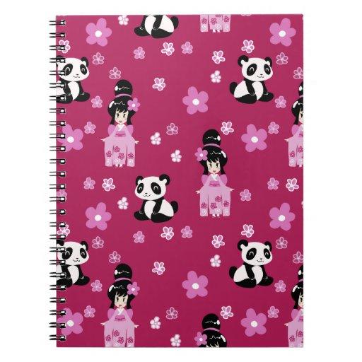 Estampado de plores rosado de la panda del geisha libretas espirales