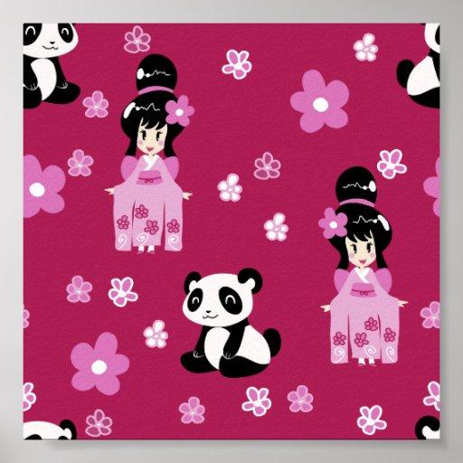 Estampado de plores rosado de la panda del geisha poster