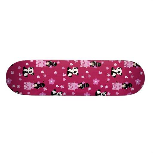 Estampado de plores rosado de la panda del geisha monopatines personalizados