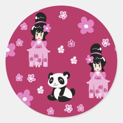 Estampado de plores rosado de la panda del geisha pegatina redonda