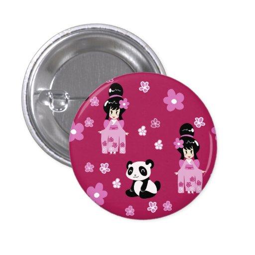 Estampado de plores rosado de la panda del geisha pins
