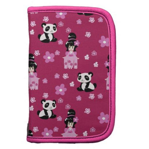 Estampado de plores rosado de la panda del geisha planificador