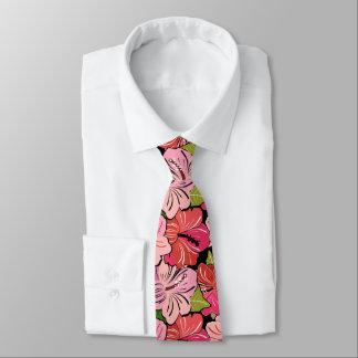 Estampado de plores rosado del hibisco corbata personalizada