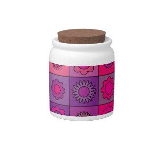 Estampado de plores rosado y púrpura jarra para caramelo