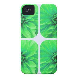 Estampado de plores verde de la dalia del collage iPhone 4 Case-Mate protector