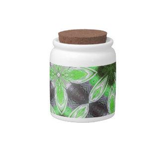 Estampado de plores verde jarras para caramelos