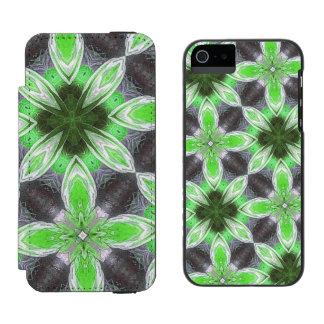 Estampado de plores verde funda billetera para iPhone 5 watson