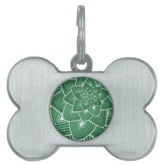 Estampado de plores verde placa de nombre de mascota