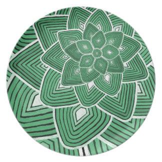 Estampado de plores verde platos para fiestas