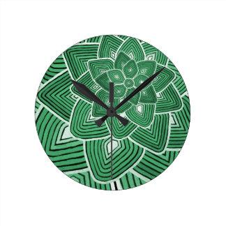 Estampado de plores verde relojes de pared