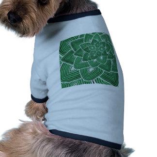 Estampado de plores verde ropa perro