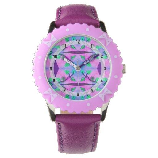 estampado de plores verde rosado púrpura bonito reloj de mano