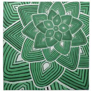 Estampado de plores verde servilletas imprimidas