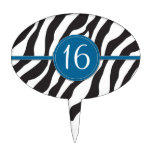 Estampado de zebra adaptable del cumpleaños en azu decoración para tarta