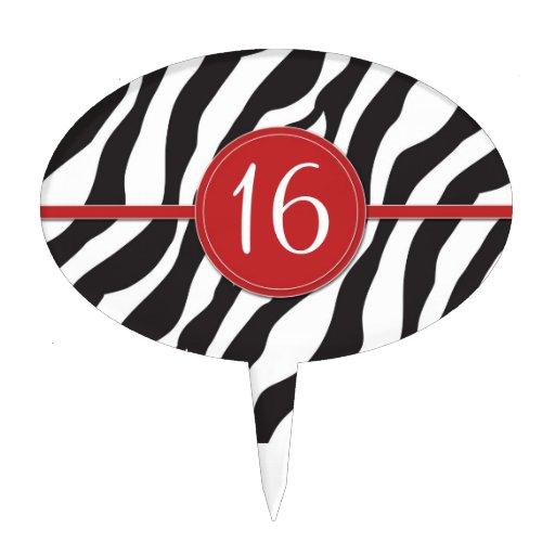 Estampado de zebra adaptable del cumpleaños en roj figuras para tartas