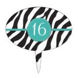 Estampado de zebra adaptable del cumpleaños en tru figuras de tarta