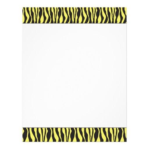 Estampado de zebra amarillo y negro membrete personalizado