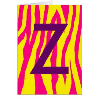 Estampado de zebra amarillo y rosado tarjeta de felicitación