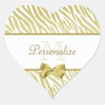 Estampado de zebra atractivo del blanco y del oro pegatina en forma de corazón
