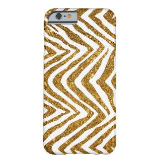 Estampado de zebra atractivo del brillo del oro funda de iPhone 6 barely there