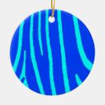 Estampado de zebra azul adornos de navidad