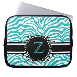 Estampado de zebra azul brillante con la cinta y e fundas portátiles