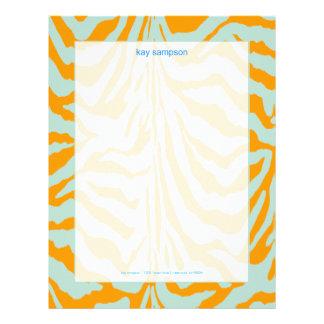 Estampado de zebra, azul cielo retro de los colore plantillas de membrete